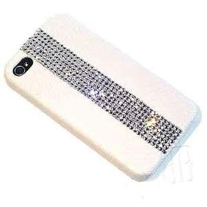 China White jeweled phone case for iphone 4 / 4s pick pu leather with diamond hard phone case on sale