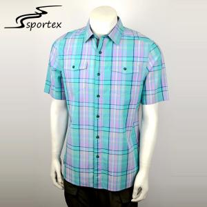 China Breathable Mens Short Sleeve Shirts 100 Cotton Plain Dyed Technics supplier