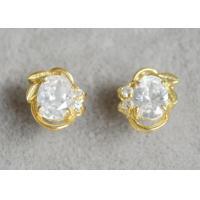 China Laurel Crown Sterling Silver Earrings , Custom Fashion Jewelry Zircon Stud Earrings on sale