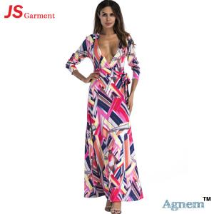 China 88YD5015 Western Style Sexy Print High Waist Deep V-Neck Women Floral Long Dress on sale