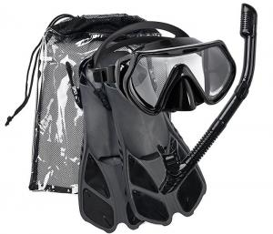 China Adjustable Flippers Double Lens Silicone Snorkel Mask Set With Dry Top Tube on sale