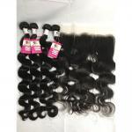 100% Brazilian Virgin Hair Body Wave Virgin Brazilian Hair 4 Bundles With Frontal
