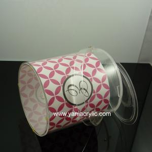 China Fashion Polishing Red Lattice Elegant Contemporary Acrylic Ice Bucket With Paper Inside on sale