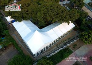 China 15m Width Luxury Wedding Tents with high peak and glass walling system for 500 people on sale