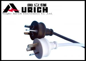 China SAA 3 Pin Plug Australian Mains Lead 10A 250V With IEC Connector White / Black Color on sale