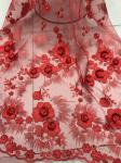 Red 3D Flower Embroidered Tulle Lace Fabric / Wedding Dresses Sequins Beaded Lace