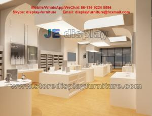 China Mobile phone selling wood counters and accessories display cabinets in white matt painting on sale