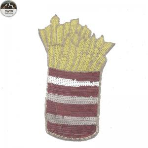 China French Fries Style Sequin Embroidery Patches For Clothing , Hats , Shoes on sale