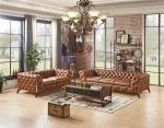 Home Furniture Tan Brown Soft Genuine Leather Sofa Set With Multi Deep Buttons