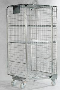 China Stainless Steel Roll Container Lockable Steel Cage With One Shelf Net on sale