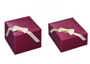 China Ribbon Closure Luxury Jewelry Box Eco Friendly With Silk Screen / Engraved Logo Craft on sale