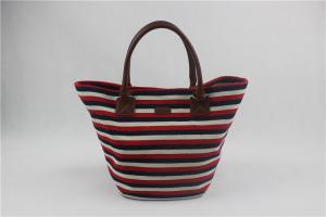 China Fashion Striped Canvas Beach Bag , Canvas Beach Tote Bags Special Design on sale