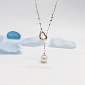 China Women ' S 18k Heart Necklace Rose Color With White Pearl Drop Pendant on sale