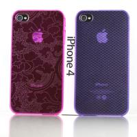 Red / Purple Transparent Personalised iPhone Cases With Lucky Clouds, Peony Pattern
