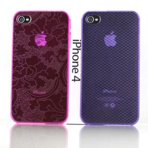 China Red / Purple Transparent Personalised iPhone Cases With Lucky Clouds, Peony Pattern on sale