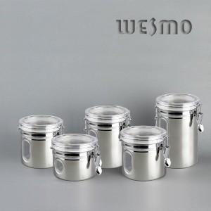 Stainless Steel Circulaire Shaped Store Pot Set Kitchen Storage