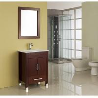 MDF / Solid Wood Board Walnut Single Sink Vanity Cupboard 15mm Door Thickness