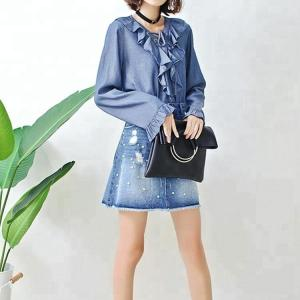 China Fashion Ruffle Tie Denim Blouses And Tops , Women's Denim Shirts Long Sleeve on sale
