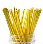 Food Grade Gold Blocking Coloured Paper Straws , Decorative Drinking Straws Pass FDA