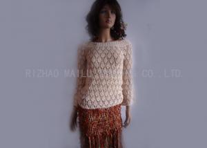 China Boat Neck Crochet Long Sleeve Dress White Crochet Knit Sweater For Autumn on sale