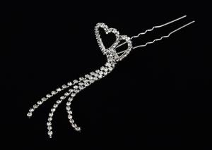 China jewelry bridal Crystal, Rhinestone decorative hair pins with silver coating for women on sale