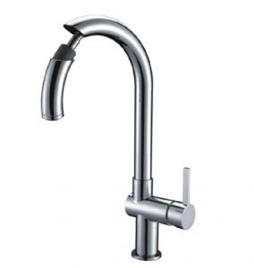 China 1 Hole Chrome Kitchen Sink Water Faucet Ceramic Kitchen Tap with Pull Out Spray on sale