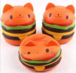 Cute Bread Jumbo Cat Head Burger Soft PU Stress Relief Slow Rising Squishy Scented Toys For Kids / Adults