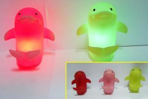 China Dolphin Night Lamp Light Up Bath Ducks LED Flashing Toy For Bed Room Decoration on sale