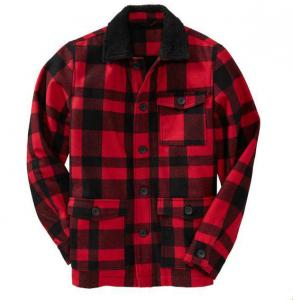 China Latest Red Plaid Fleece Style Mens Flight Jacket With Turn Down Collar on sale
