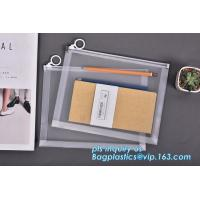 plastic Zippered Envelope Ziplock Waterproof PP Bags Seamless Slider Closure Storage Pouch for A4 Paper,Magazine,Memo
