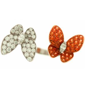 China Customized Fashion Double Butterfly Jewelry Rings Zircon Paved on sale