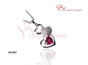 China 925 Sterling Silver Pendants  Heart  Necklace In Red Garnet CZ Stones For Weddings on sale