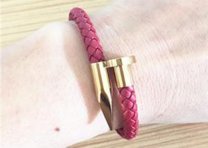 China High Quality Handmade 18k Gold Plated Spike Shape Magnetic Genuine Leather Bracelet on sale