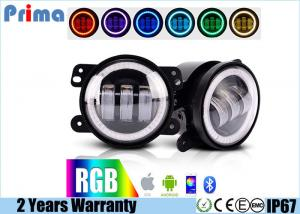 China 4 Jeep Fog Lights  DRL RGB Halo Ring Fog lights  Assembly with Bluetooth Function for 1997-2017 Jeep Wrangler JK CJ LJ on sale