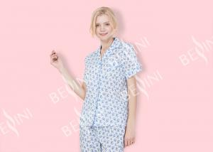 China Printed Cotton Voile Soft Womens Pyjama Sets Two Pieces For Autumn Season on sale
