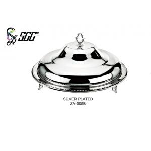 China 18 Inch Stainless Steel Round Mirror Plate With Cover / Food Serving Ware OEM Services on sale