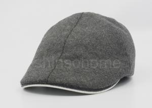 China Plain Winter Wool Beret Bucket Hat 6 Panels With Flocking Fabric Lining on sale