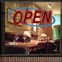 China Window Door LED Open Sign Flashing Neon Light With Animation On/Off Power Display on sale