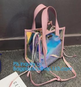 China Jelly color laser shoulder bag pvc leather tote bag, Studded Clear Tote/PVC shoulder bag, Fashion Translucent Hologram K on sale