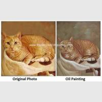 Cat Portrait Oil Painting Hand - Painted With Texture Turn Your Photo Into A Painting