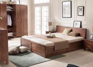 Quality Mordern Custom Oak Solid Wood Bedroom Furniture Sets Simple Style Environment - for sale