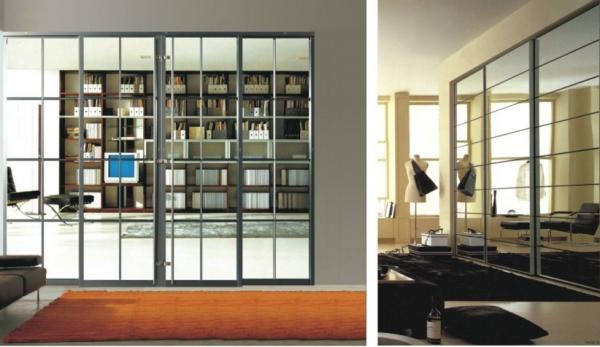 Luxury Living Room Divider With Glass, Modern Aluminum
