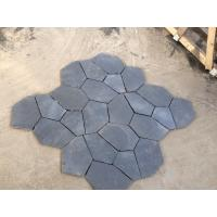 Black Slate Natural Stone Tiles Back Mesh Machine Cut Slate Floor Paving Tiles