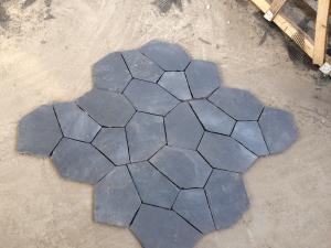 China Black Slate Natural Stone Tiles Back Mesh Machine Cut Slate Floor Paving Tiles on sale