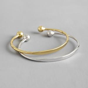 China Lanciashow 925 Sterling Silver Cuff Bangle Bracelet Gold Plated Jewelry For Women on sale