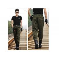 Anti - Friction Army Green Skinny Cargo Pants Long Style With 2 Tactical Pockets