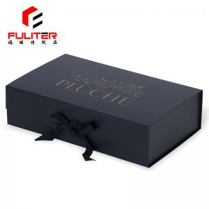China Black jewelry box CMYK ribbon printed folding magnetic jewelry gift box on sale