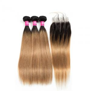 China Natural Cambodian Hair Weft Silky Straight 1B / 30# Color With Bundles on sale