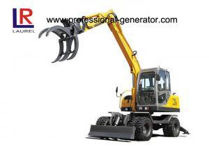 China 0.3CBM 8.3 Ton Heavy Construction Machinery / Wheeled Mini Excavator With Sugarcane Grapple on sale