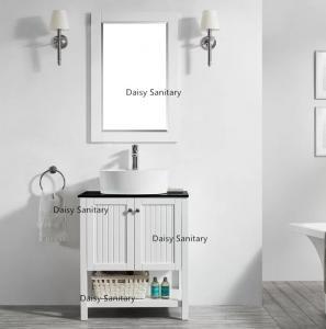 China Country Style Bowl Sink Vanity , Natural Marble Top Single Sink Bathroom Vanity on sale
